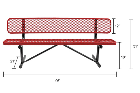 Expanded, Bench with backrest, 96inch for sale